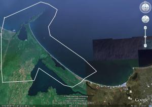 El Recuadro en Blanco indica mas o menos la ubicación del Parque Nacional, J. K. o Punta Sal, es un aproximado, el parque en si tiene una extención aproximada de 781.45 Km2